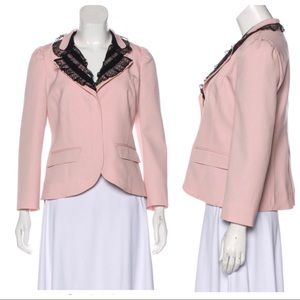 RED VALENTINO Lace Collar Woven Blazer Jacket